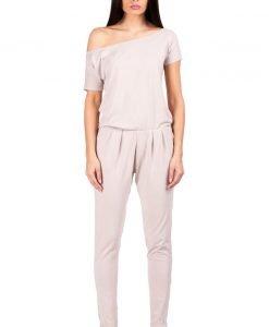 Beige Off-shoulder and Long Legged Jumpsuit - Blouses -