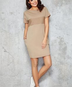 Beige Shift Dress with Silky Bust Panel - Dresses -