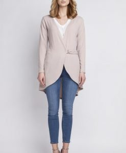 Beige crossover long cardigan with buckle fastening - Sweaters -