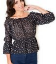 Black Blouse with Shirred Neckline and Waist - Blouses > Blouses Long Sleeve -