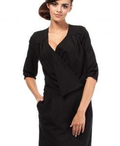 Black Flap Collar Shift Dress - Dresses -