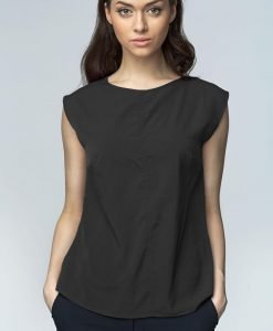 Black High Neck Sleeveless Blouse with Curved Hemline - Blouses -