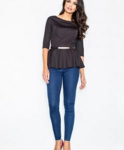 Black Peplum Waist Blouse With Leather Belt - Blouses > Blouses Short Sleeve -