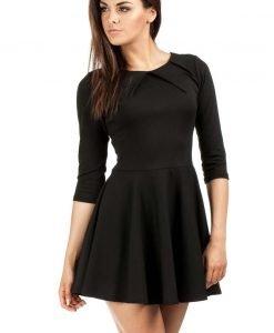 Black Pleated Neckline Flippy Dress - Dresses -