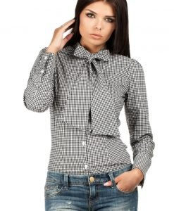 Black Pussy Bow Collar Pinstripe Girly Shirt - Shirts -