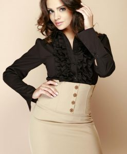 Black Ruffled Blouse with Fanned Sleeves - Shirts > Shirts Long Sleeve -