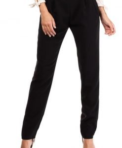 Black Satin Chino Trousers With Pockets - Trousers -