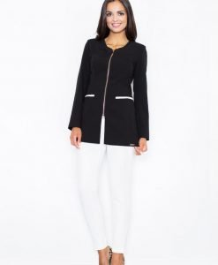 Black Seam Blazer with Half Front Zipper and Contrast Flap Pockets - Outerwear > Blazers -