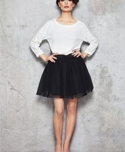 Black Sheer Gathered Short Skirt with Lining - Skirts -