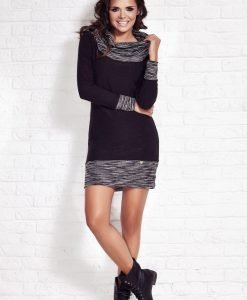 Black Shift Dress with Flecked Cowl Neck - Dresses -
