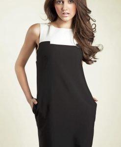 Black Sleeveless Colour Block Panel Dress - Dresses -