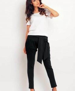 Black stretchable pants with self tie belt - Trousers -