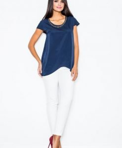 Blue Asymmetrical Hemline Blouse with Chain Embellished Neckline - Blouses -