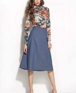 Blue Denim Midi Length Seam Skirt - Skirts -