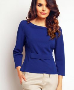 Blue elegant textured blouse - Blouses -