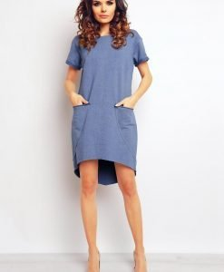 Blue textured seam dress with dippy hemline - Dresses -