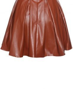 Brown Leather Pleated Skirt with Back Seam Zip Fastening - Skirts -