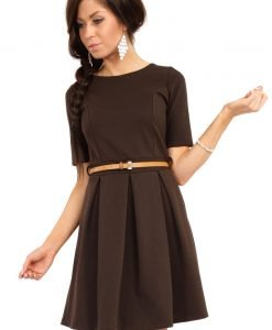 Brown Magnanimous Modern Belted Tea-length Dress - Dresses -