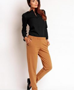 Brown Tapered Ankle Office Long Pants - Trousers -