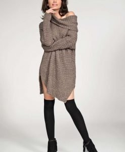 Cappuccino long sweater with slits - Sweaters -