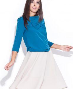 Cream Swirly Panel Skirt with Side Zip Fastening - Skirts -