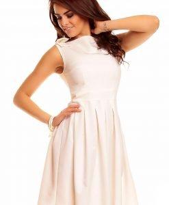 Creamy Shoulder Bow Sleeveless Flippy Dress - Dresses -