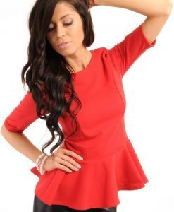 Crew Neck Seamed Frill Hem Red Top - Blouses > Blouses Short Sleeve -