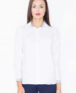 Crisp white button down shirt with contrast blue inner collar - Shirts -
