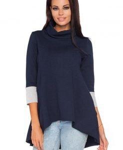 Dark Blue-Light Grey Turtle Neck Asymmetrical Hemline Dress - Dresses -