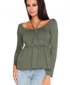 Dark Grey Wide Round Neckline Blouse with Pleated Waist - Blouses > Blouses Long Sleeve -