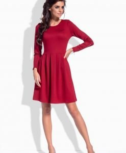 Dark red pleated dress with zipper sleeves - Dresses -