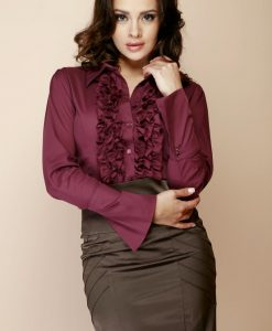Deep Purple Ruffled Blouse with Fanned Sleeves - Shirts > Shirts Long Sleeve -