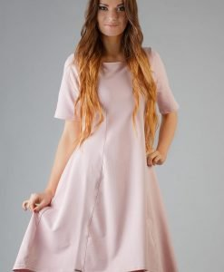 Dirty Pink High Fad Dress with Dipped Hem - Dresses -