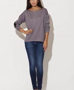 Drop Shoulder Elbow Patch Bateau Neck Grey Sweater - Sweaters -