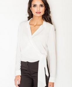 Ecru Crossover Collared Knot-Waist Blouse - Blouses -