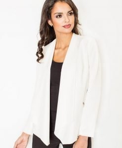 Ecru Waterfall Neckline Blazer with Long Sleeves - Outerwear > Blazers -