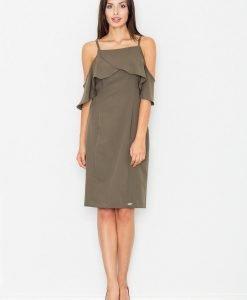 Elegant olive dress with caplet - Dresses -