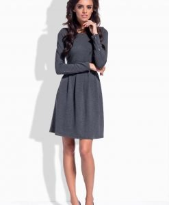 Flecked grey pleated dress with zipper sleeves - Dresses -