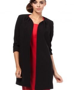 Front Open Black Blazer With Pleated Neckline - Outerwear > Blazers -