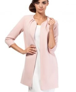 Front Open Pink Blazer With Pleated Neckline - Outerwear > Blazers -