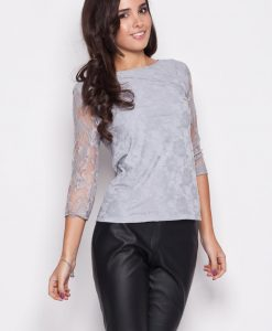 Gray Bateau Neckline Floral Lace Blouse with 3/4 Sleeves - Blouses > Blouses Long Sleeve -