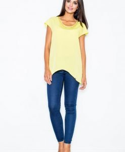 Green Asymmetrical Hemline Blouse with Chain Embellished Neckline - Blouses -