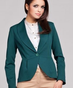 Green Long Lapel Single Button Closure Blazer for Women - Outerwear > Blazers -