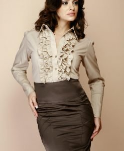 Greige Ruffled Blouse with Fanned Sleeves - Shirts > Shirts Long Sleeve -