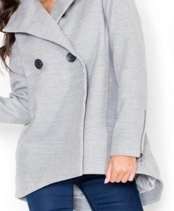 Grey Double Breasted Coat with Dippy Hemline - Outerwear > Jackets and coats -