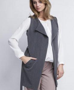 Grey Elegant Overlap Blouse With Belt - Blouses -