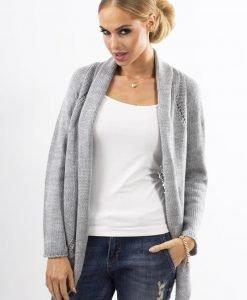 Grey Shawl Collar Ladies Cardigan with Eyelet Knit Pattern - Sweaters -