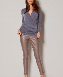 Grey Slouchy Blouse With Crossover Front - Blouses > Blouses Long Sleeve -