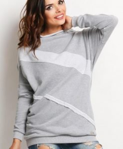 Grey Sweater with Bandage Details - Sweaters -