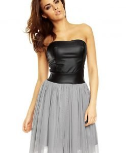 Grey Tulle Prom Dress with Bandeau Leather Bodice - Dresses -